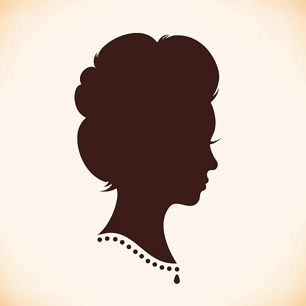 stockillustraties, clipart, cartoons en iconen met retro woman head silhouette - 18e eeuw