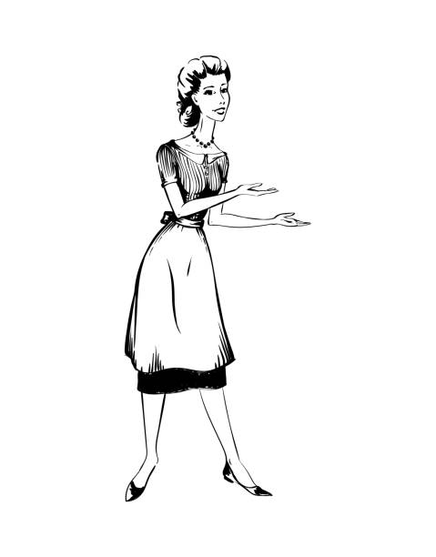retro woman of 1950s - 20th century stock illustrations