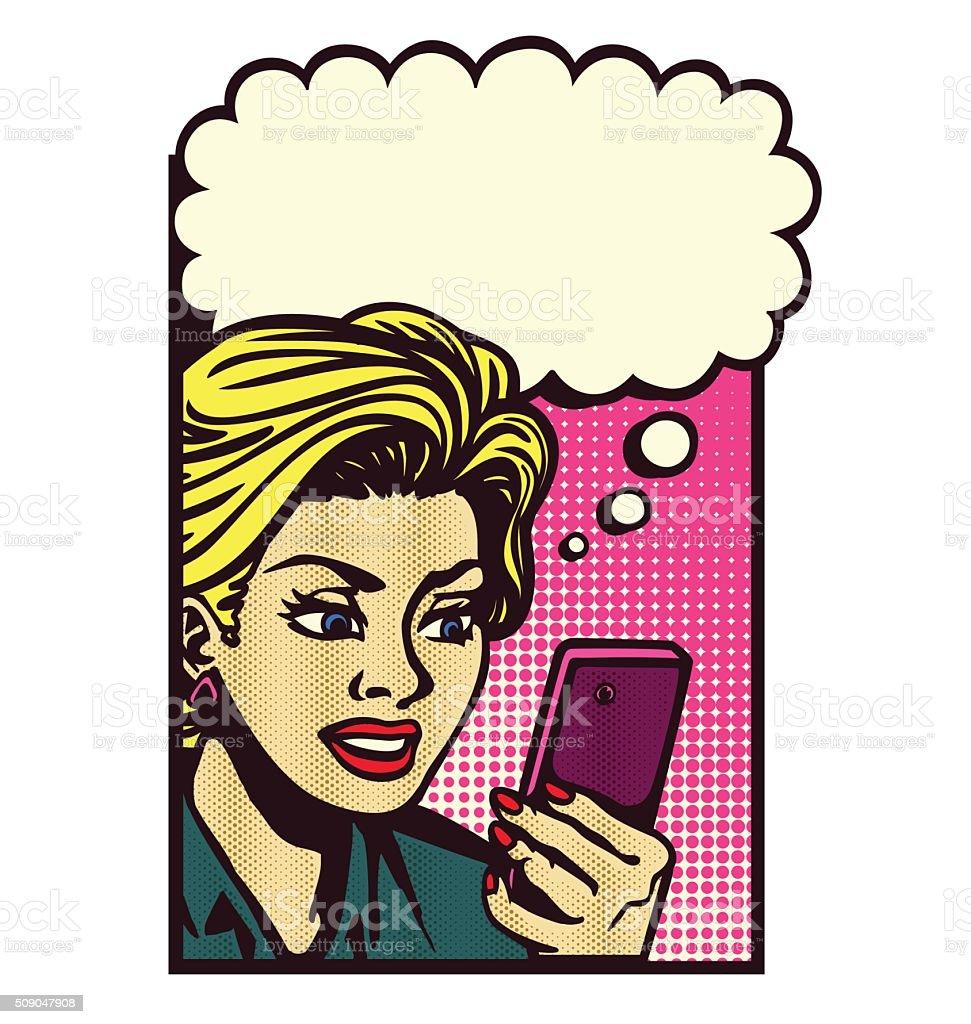 Retro woman reading message smartphone thinking vector pop art illustration vector art illustration