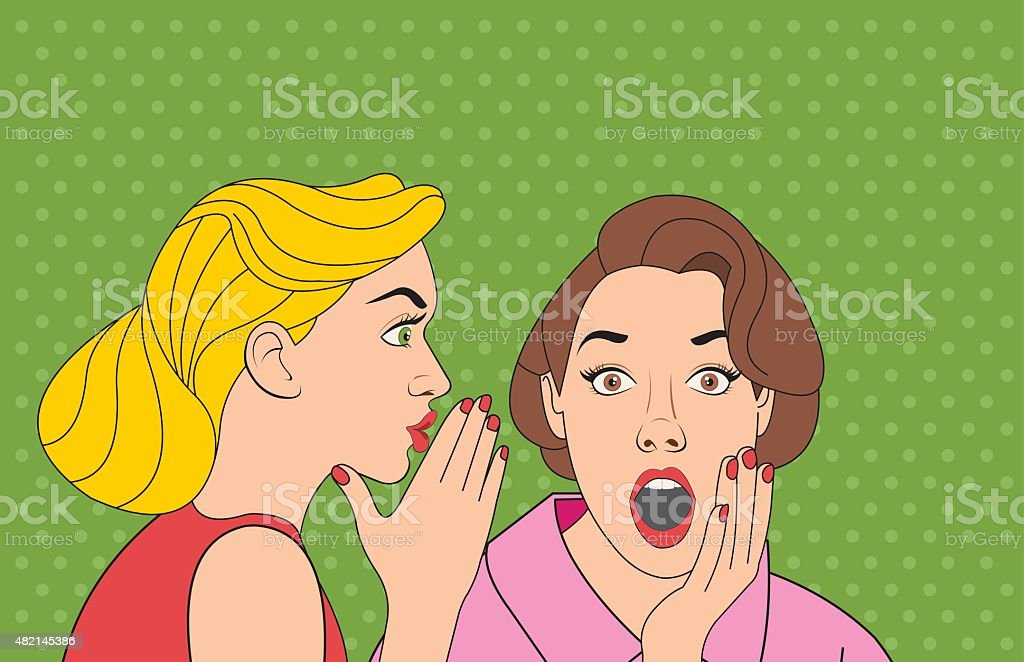 retro woman whispering a gossip vector art illustration