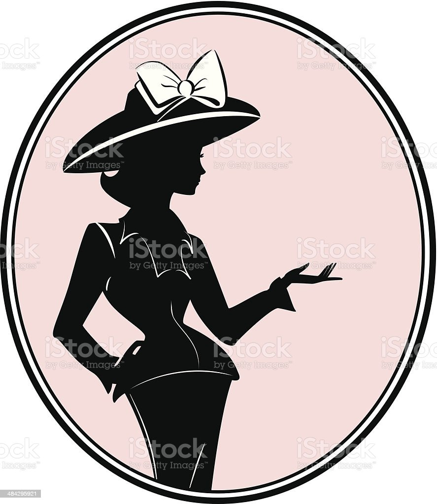 Retro woman with hat vector art illustration