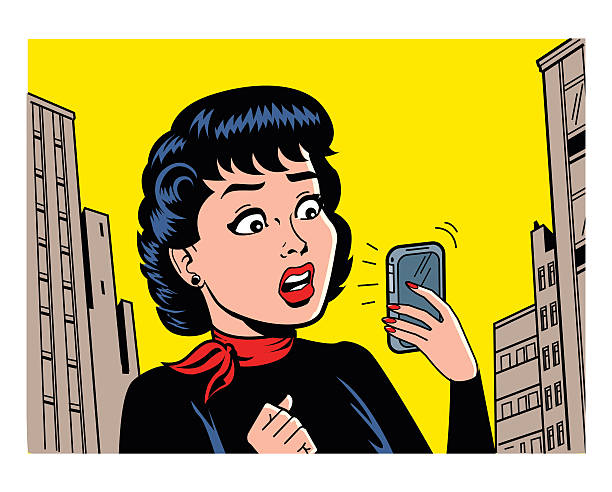 Retro Woman With Phone vector art illustration