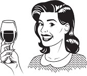 An vintage styled woman holding a glass of red wine.