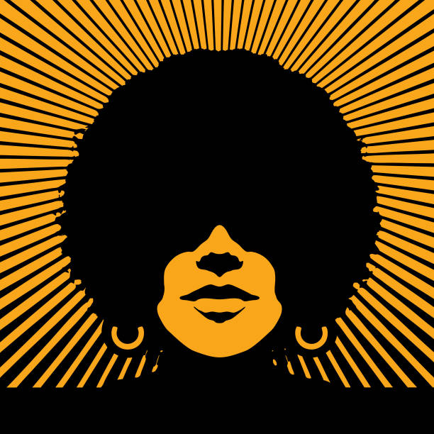 Retro woman's face with vector sunbeams vector art illustration