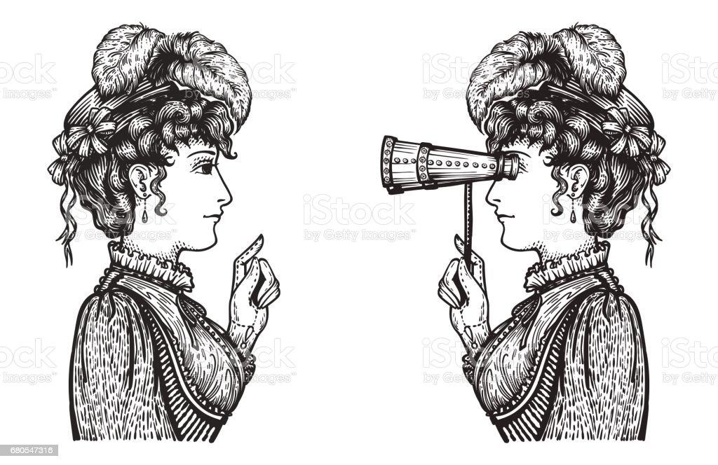 Retro-Frauen chat – Vektorgrafik