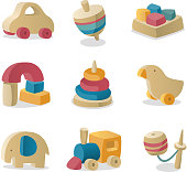 Wood toys icon collection.