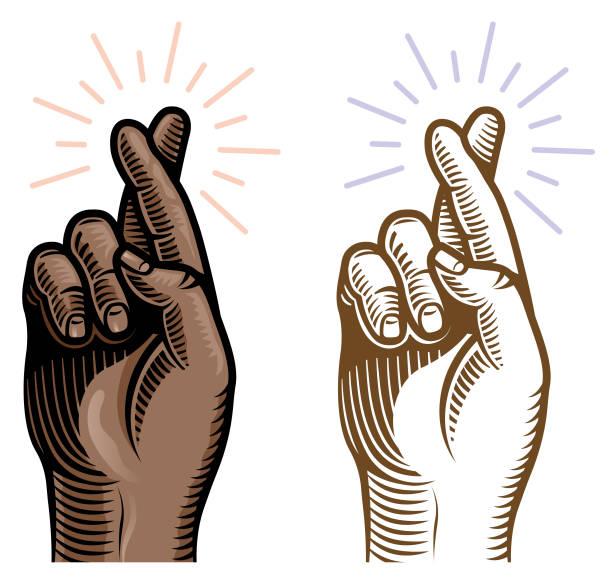 Retro woodcut black crossed fingers vector art illustration
