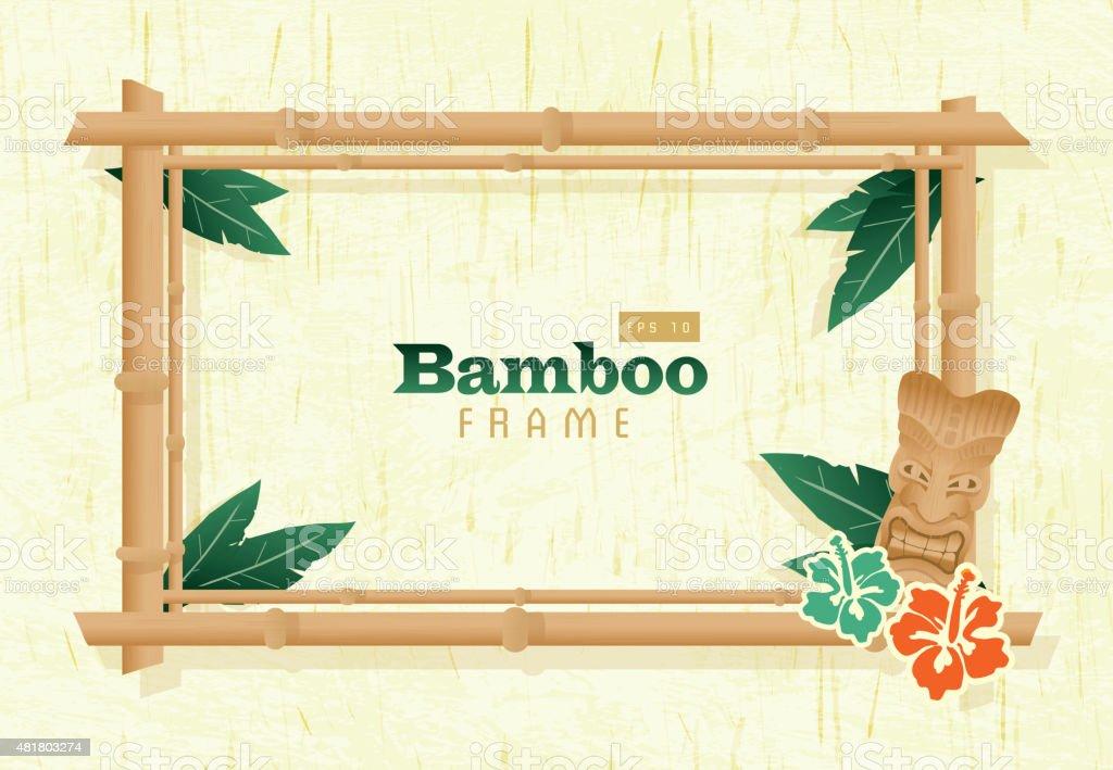 Retro hölzerne Sommer Tiki Bambus-Rahmen auf natürlichen Hintergrund – Vektorgrafik