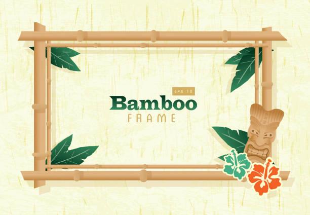 bildbanksillustrationer, clip art samt tecknat material och ikoner med retro wooden bamboo frame - stillsam scen