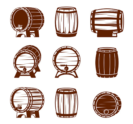 Retro wooden barrels set. Strongly knocked down vaults oak plank containers with taps and plugs brown containers for storing liquids convenient storage for cognac in distillery. Vector drink.