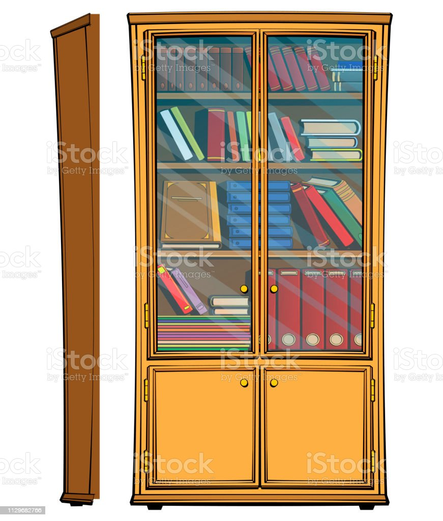 Retro Wooden Bookcase With Glass Doors Stock Illustration