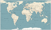 Retro World Map and Main State Roads