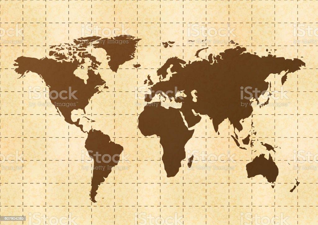 Ilustracin de retro world map on old paper with texture y ms banco documento mapa asia australia europa ubicaciones geogrficas retro world map on old gumiabroncs Choice Image