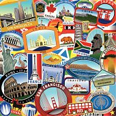 Retro stylized passport on top of series of Ultra Stylized Retro/Vintage World Travel Style Stickers in a overlapping collage. Great for an old style travel look.