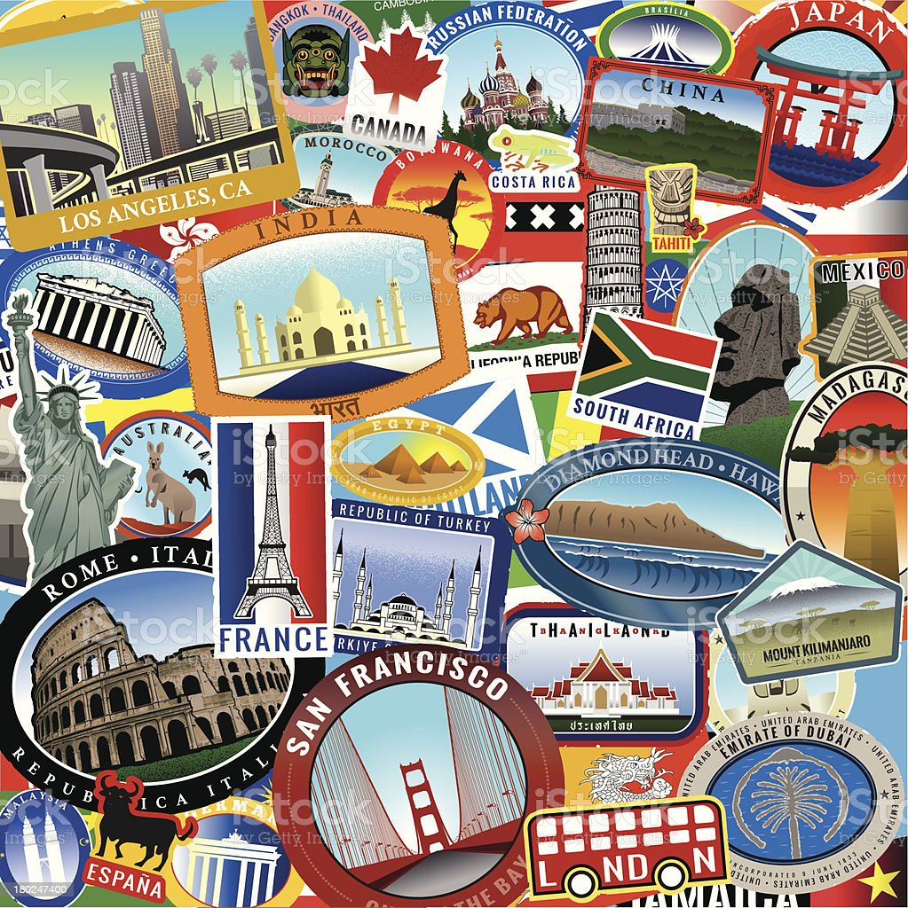 Retro World Travel Sticker Collage vector art illustration