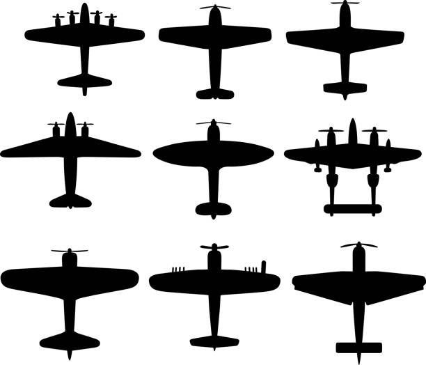 Retro WWII Airplane Silhouettes Vector silhouettes on nine WWII airplanes. bomber plane stock illustrations