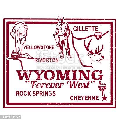 Retro Wyoming Travel Stamp