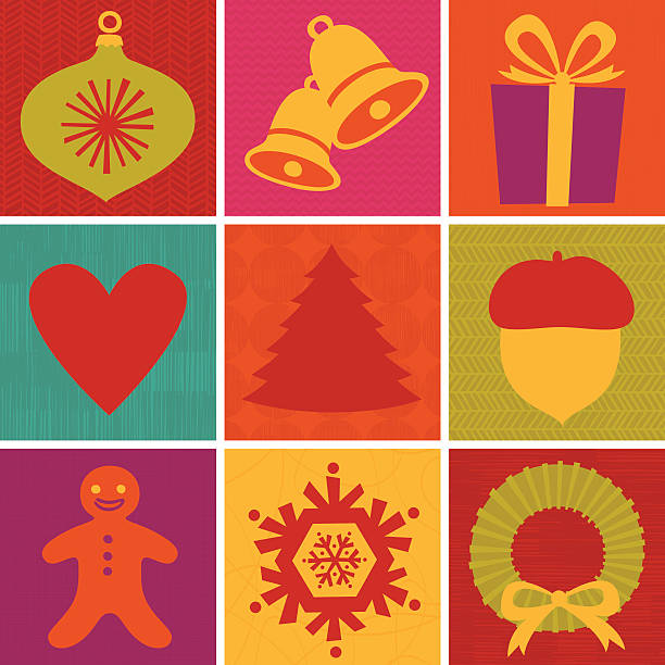 Retro Xmas icon set vector art illustration