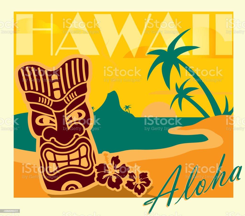 Ilustración de Amarillo Verano Retro Bar Tiki Hawaiian Diseño De ...