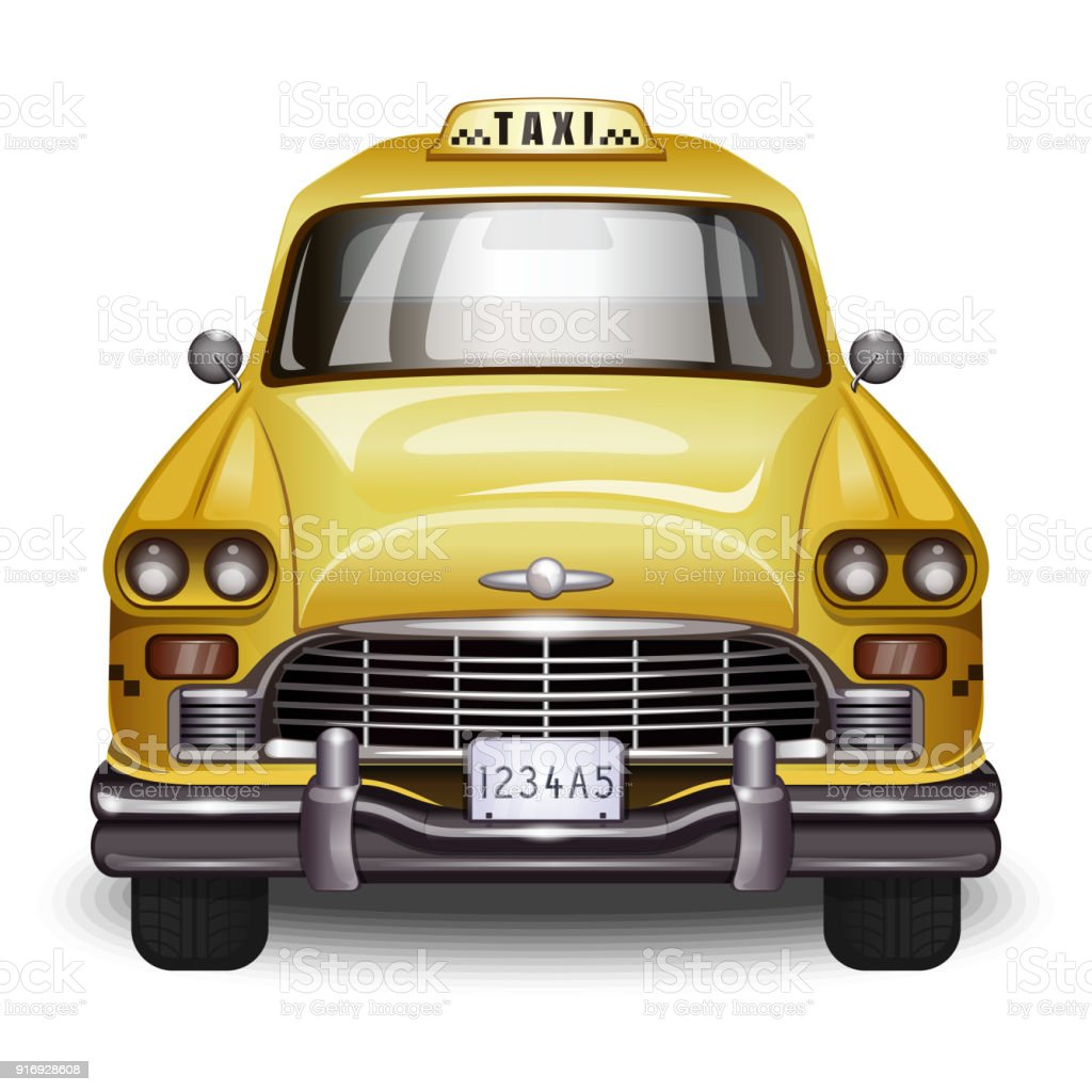 Retro yellow taxi vector art illustration