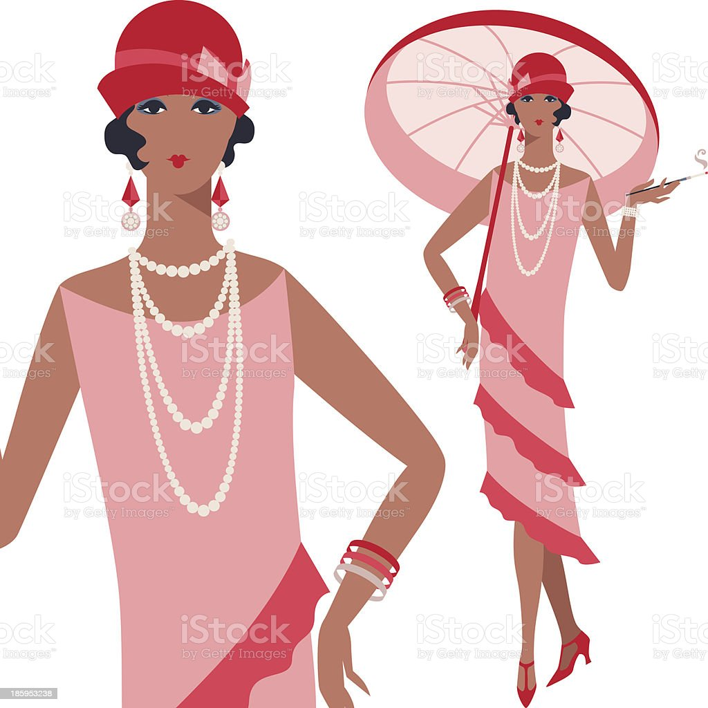 Retro young beautiful girl of 1920s style. vector art illustration