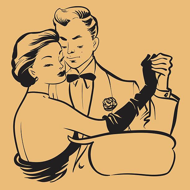 Retro Young Couple Dancing vector art illustration