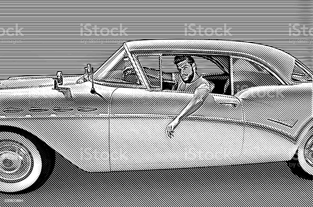 Retro Young Man Driving Vintage Car vector art illustration