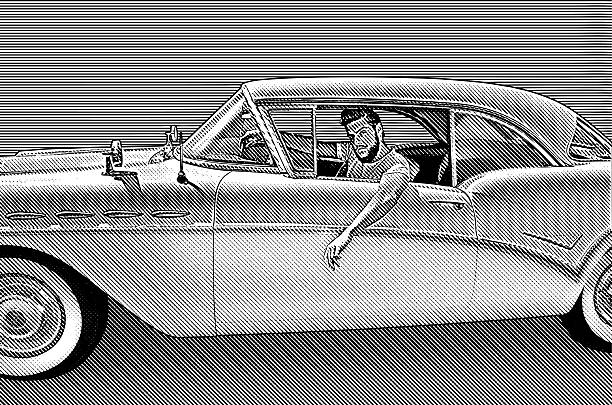 Retro Young Man Driving Vintage Car vector art illustration