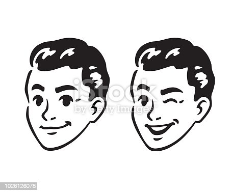 Vintage 60s style young man portrait, smiling and winking. Retro comics black and white ink drawing, American cartoon advertising illustration.