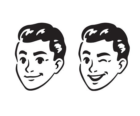 Retro young man portrait clipart
