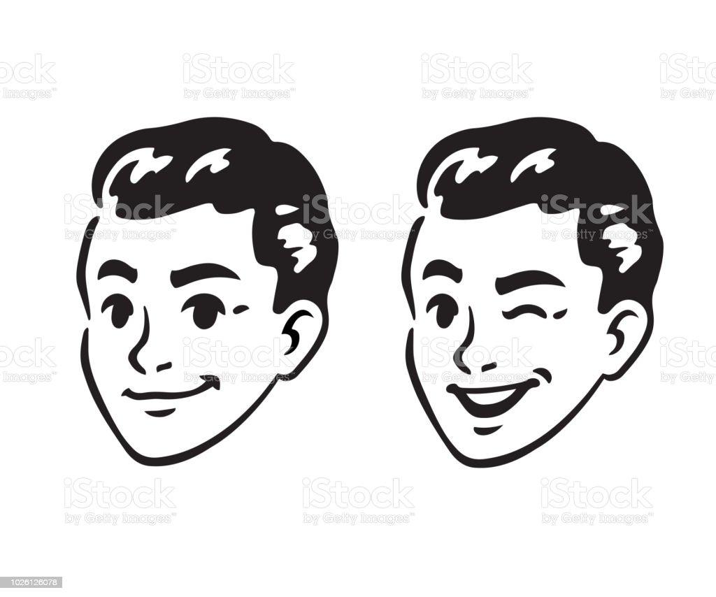 Retro young man portrait vector art illustration