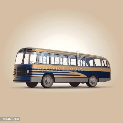 Old-fashioned Soviet city bus retro vector illustration