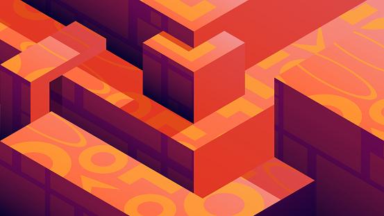 Retro-futuristic geometric illustration - 3D geometric shapes with patterns.