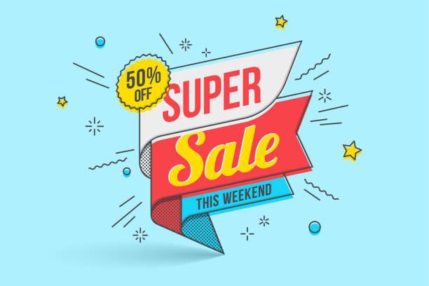 Retro-futuristic promotion banner, scroll, price tag Retro-futuristic promotion banner, scroll, price tag. Vector illustration excitement stock illustrations