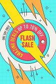 Retro-futuristic sales background, promotion banner, layout