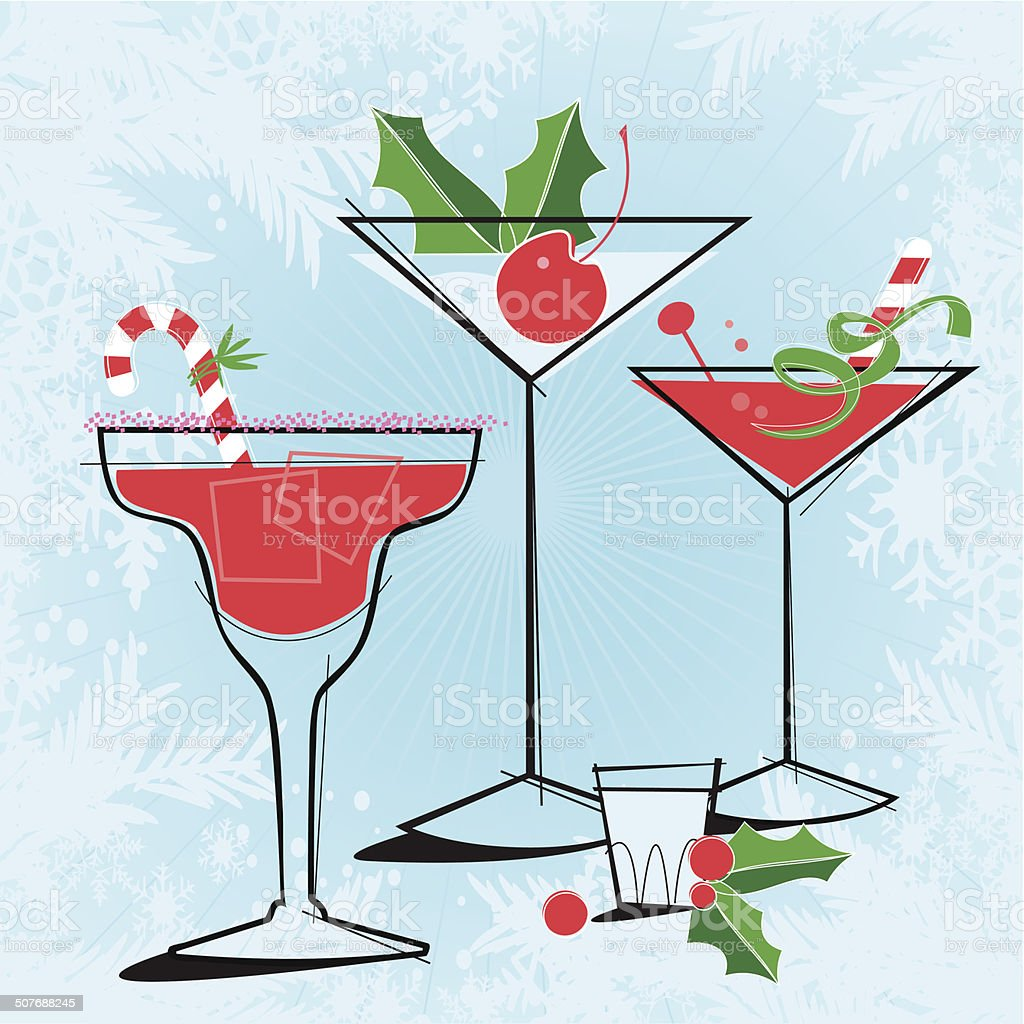 Retro-style Holiday Cocktails vector art illustration