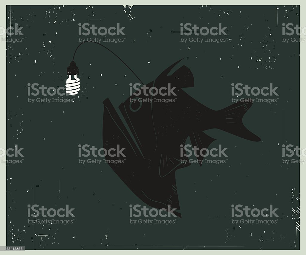 Retro-style illustration of Anglerfish with Compact Fluorescent Lightbulb royalty-free stock vector art