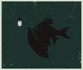Retro-style illustration of Anglerfish with Compact Fluorescent Lightbulb