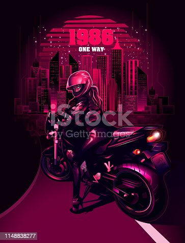Biker on the background of the night city. 10eps.