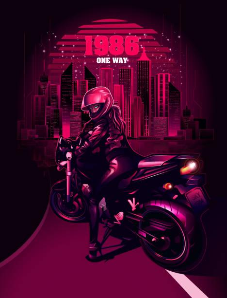 Retrowave biker vector art illustration