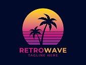 Retrowave palm logo