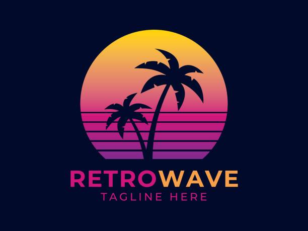 retrowave logo - sunset stock illustrations, clip art, cartoons, & icons