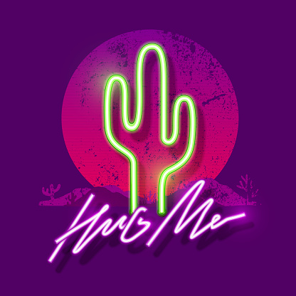 Retrowave neon Cactus. Hug me slogan. Typography graphic print, fashion drawing for t-shirts. Vector stickers,print, patches vintage rock style