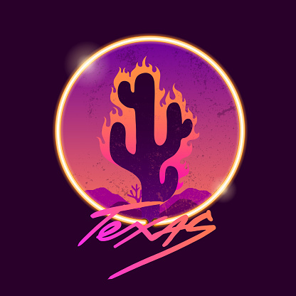 Retrowave neon Cactus. Texas slogan. Typography graphic print, fashion drawing for t-shirts. Vector stickers,print, patches vintage rock style