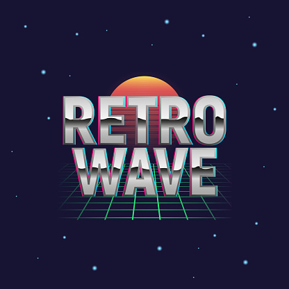 Retrowave outrun neon logo design. Retrowave badge, label, sign with grid and retro sun. Vaporwave, Synthwave design with retro texture. Vector illustration