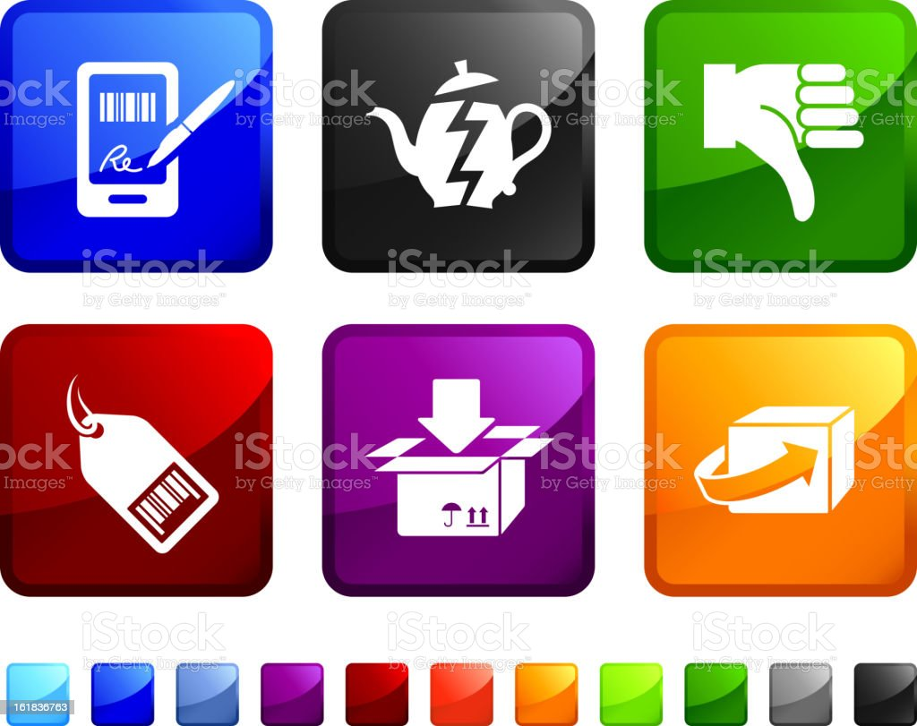 Return and Exchange royalty free vector icon set royalty-free stock vector art