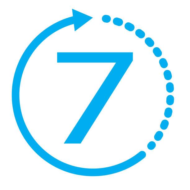 ilustrações, clipart, desenhos animados e ícones de retorno de mercadorias no ícone de 7 dias. 7 dias em fundo branco. ícone de serviço azul de sete dias. símbolo de troca de garantia. - dia do cliente