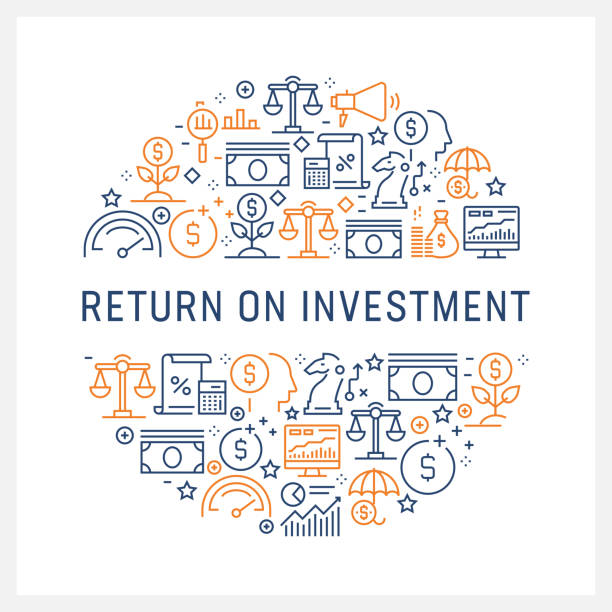 Return on Investment Concept - Colorful Line Icons, Arranged in Circle Return on Investment Concept - Colorful Line Icons, Arranged in Circle budget patterns stock illustrations
