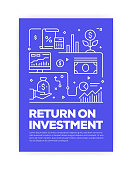 Return on Investment Concept Line Style Cover Design for Annual Report, Flyer, Brochure.