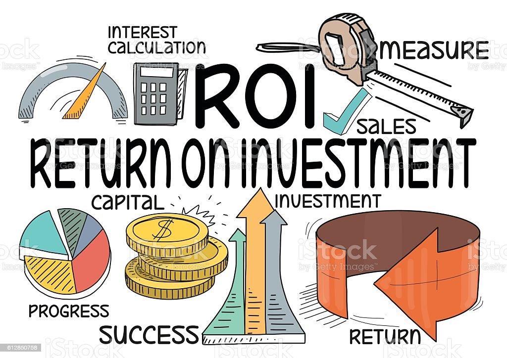ROI Return on Investment Concept vector art illustration